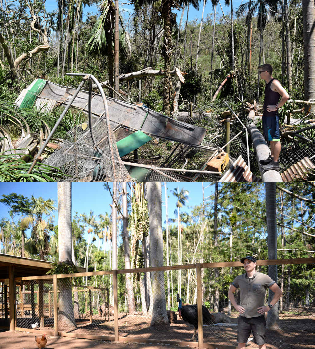 Cooberrie Park wildlife keeper Kieron Smedley has a look around the park that was demolished in Cyclone Marcia. Below left: Man walks his dog down Gladstone Road after the 2011 Fitzroy River flood.
