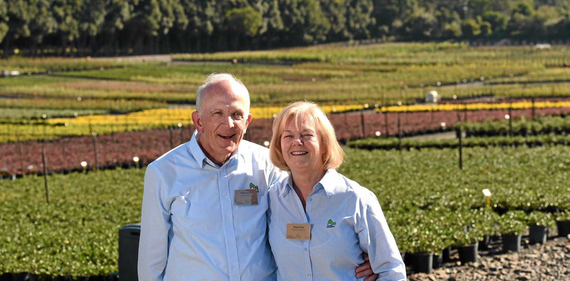 Alpine Nurseries owners Peter and Kay Knox at the official opening of their Alstonville business.
