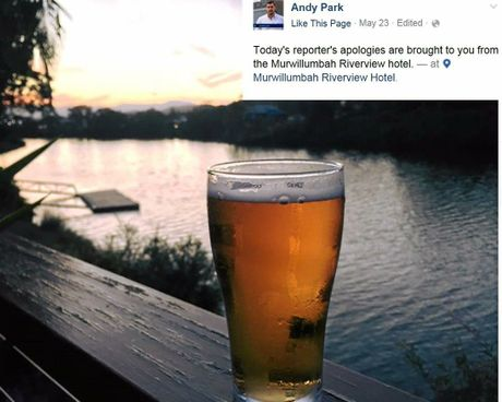 ABC 7.30 Report's Andy Park posts about the Tweed Shire on his Facebook page.