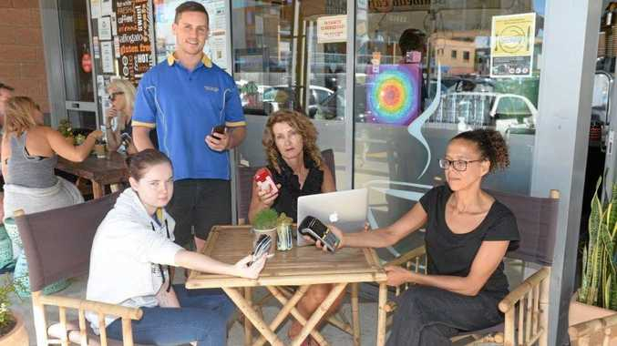 Emily Wilson, Nathan Devin, Heather Stewardson and Di Human all work at Kingscliff and are fed up with the poor phone and internet coverage in the town.