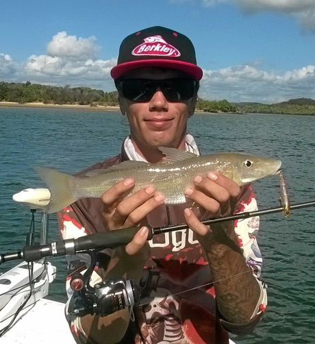 YOU BEAUTY: David Quinell with a nice whiting caught on a Sugapen surface lure.