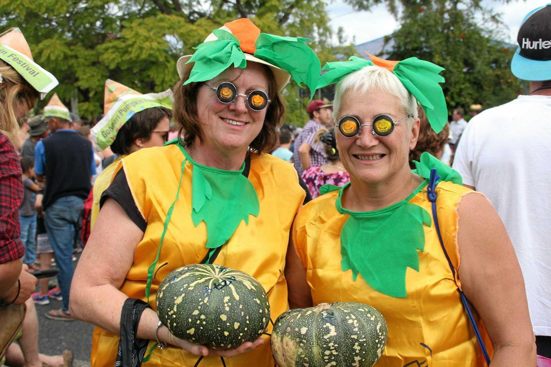Judy Ferguson from New Zealand and Angela Brown from Brisbane at last year's Goomeri Pumpkin Festival.