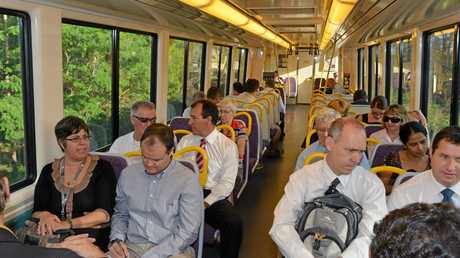 FLASHBACK: Coast politicians boarded the public train to Brisbane back in 2013 to experience first hand the thoughts and feelings of users.