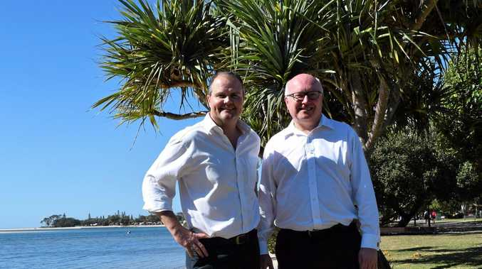VISIT: Attorney-General and Queensland Senator George Brandis (R) and LNP candidate for Fairfax Ted O'Brien at Cotton Tree.