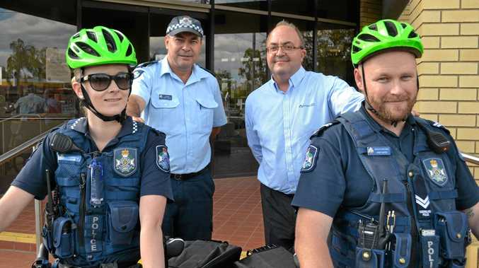DING DING: Constable Nicola Waters and Sgt Brett Hunter are sent out on their first bicycle patrol of Dalby's criminal-covering crannies.