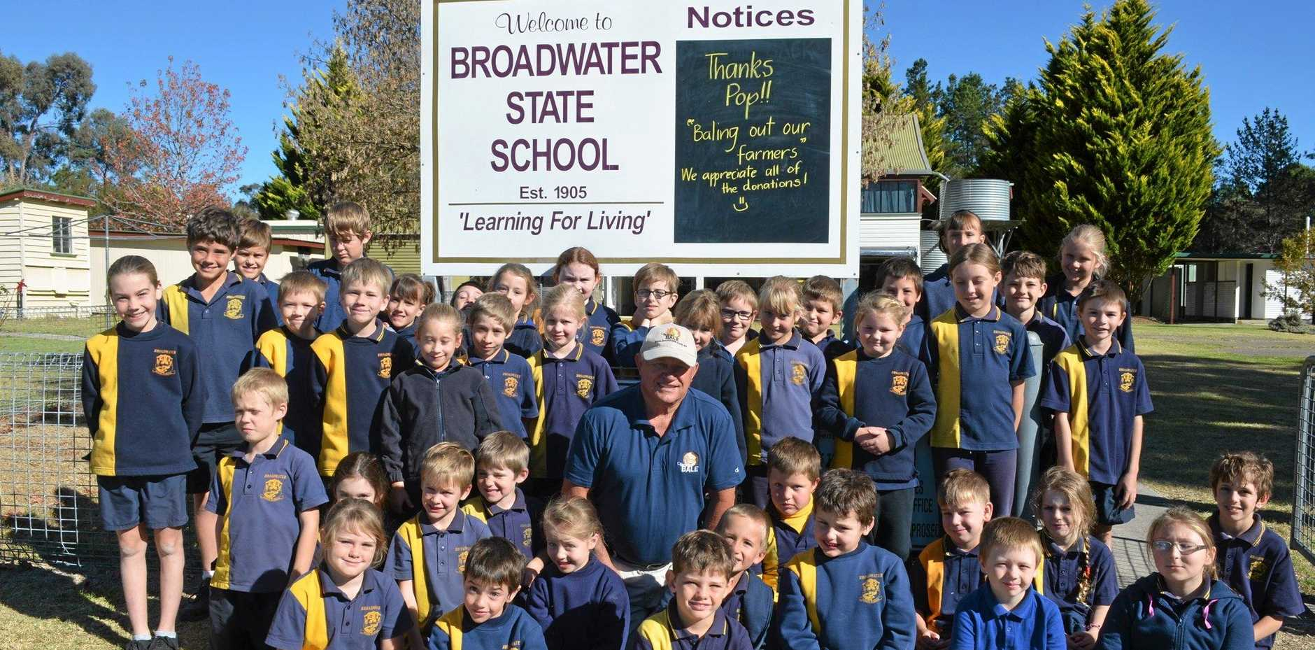 Broadwater State School students and Terry Byrnes from Buy a Bale are thanking everyone for their support.
