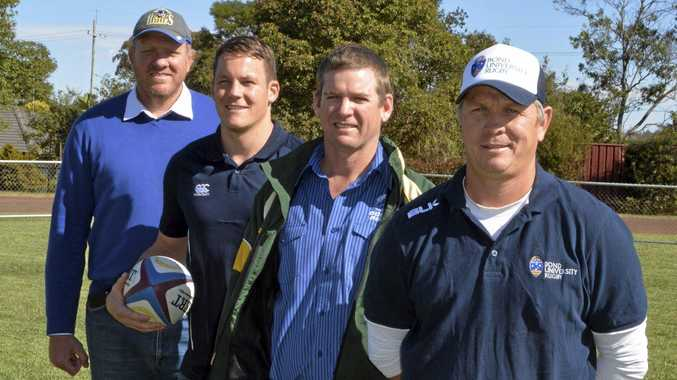 From left: Former Wallaby Garrick Morgan, Brothers Flanker Luke Beauchamp, Downs Rugby's Rob Johnston and Bond coach Sean Hedger.
