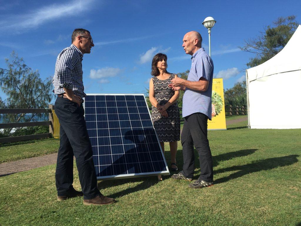 GREENING: Greens leader Senator Richard Di Natale with Green Richmond Candidate Dawn Walker with CEO of Enova Energy, Steve HarrisPhoto Christian Morrow / Byron Shire News