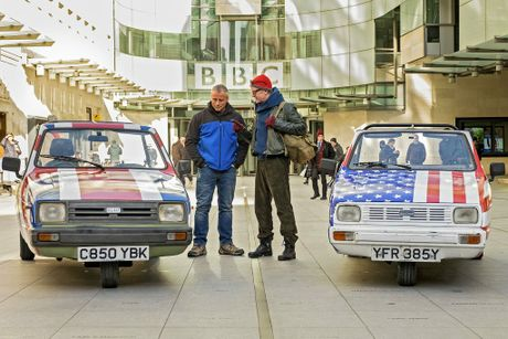 Matt LeBlanc and Chris Evans pictured in a scene from the TV series Top Gear. Supplied by BBC Australia.
