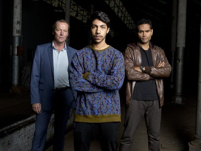 Iain Glen, Hunter Page-Lochard and Rob Collins star in the TV series Cleverman.