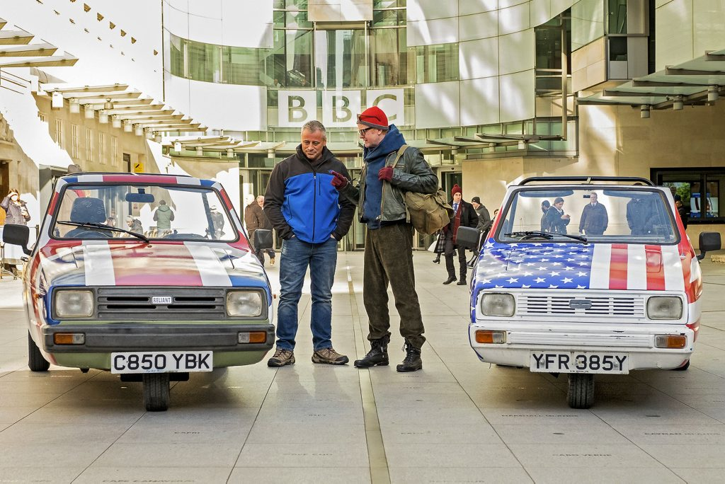 Matt LeBlanc and Chris Evans on the set of the all-new Top Gear. Photo: Contributed.
