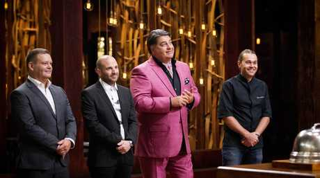 MasterChef Australia hosts George Calombaris, Gary Mehigan and Matt Preston pictured with mentor Shannon Bennett.