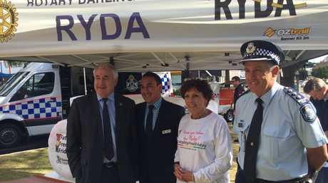 BE FATALITY FREE: Making the pledge are (from left) Toowoomba Mayor Paul Antonio, Cr James O'Shea, Deputy Mayor Carol Taylor and Police Inspector Mike Curtin.