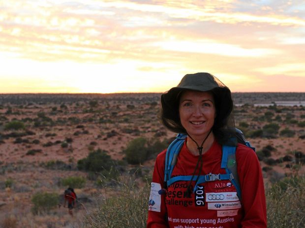 Channel 9 news reader Melissa Downes during the trek through the Simpson Desert, raising money for Youngcare.
