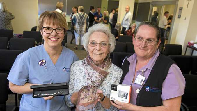 RECOGNITION: Receiving awards for their years of service to St Vincent's Hospital are (from left) Lesley Hedges (35 years), volunteer Irene Gregg (20 years) and and Kym Litfin (30 years).