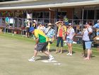 ALL IN THE WRIST: Bill Tumbridge gives the Beerwah Kindy educators a quick bowls lesson.