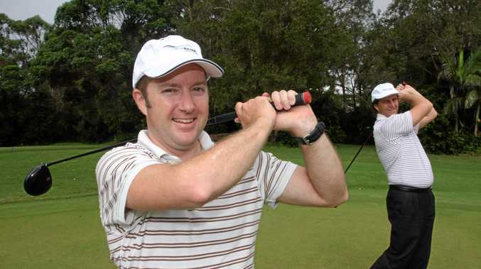 Julian Porter and John Watson at the 2013 law association charity golf day.