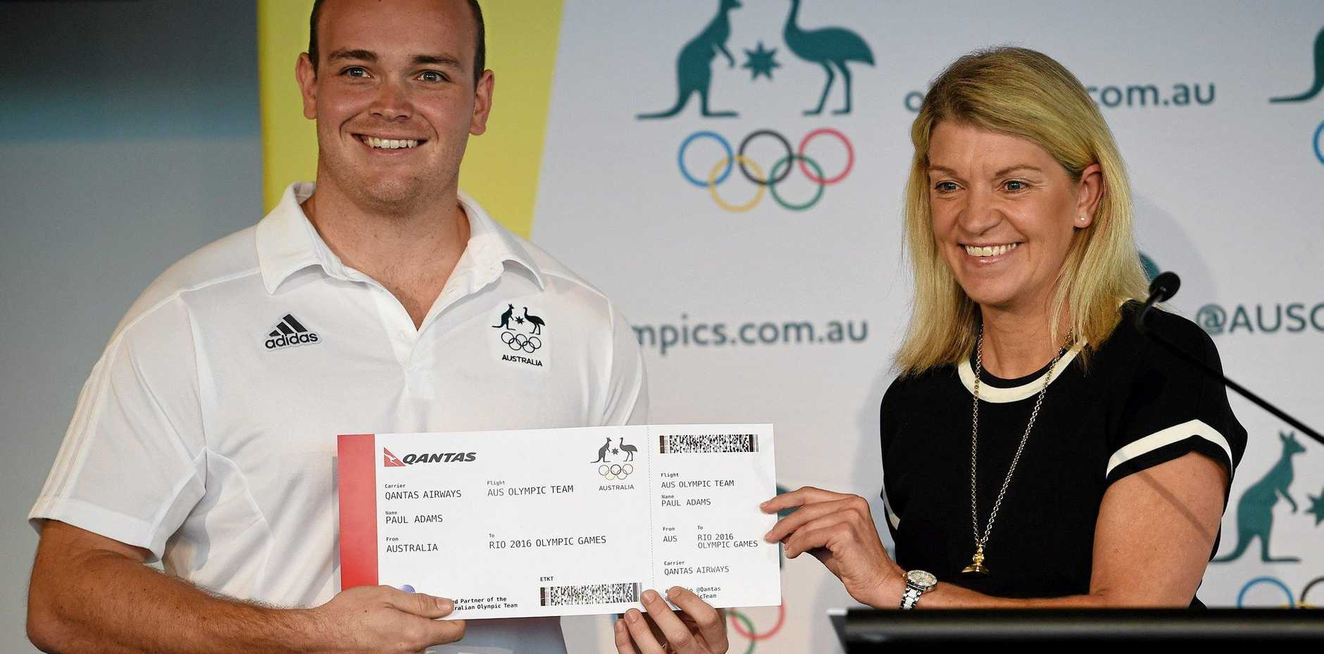 CHERRABAH BOUND: Olympian Paul Adams, (left), with Olympic Chef de Mission Kitty Chiller, after being selected for the Australian shooting team for Rio.