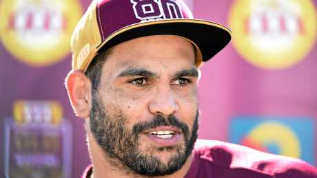Queensland State of Origin player Greg Inglis speaks to the media during the Maroons Origin team training session at Sanctuary Cove on the Gold Coast, Thursday, May 26, 2016. Queensland will face the NSW Blues in game one of the State of Origin series in Sydney on Wednesday. (AAP Image/Dave Hunt) NO ARCHIVING