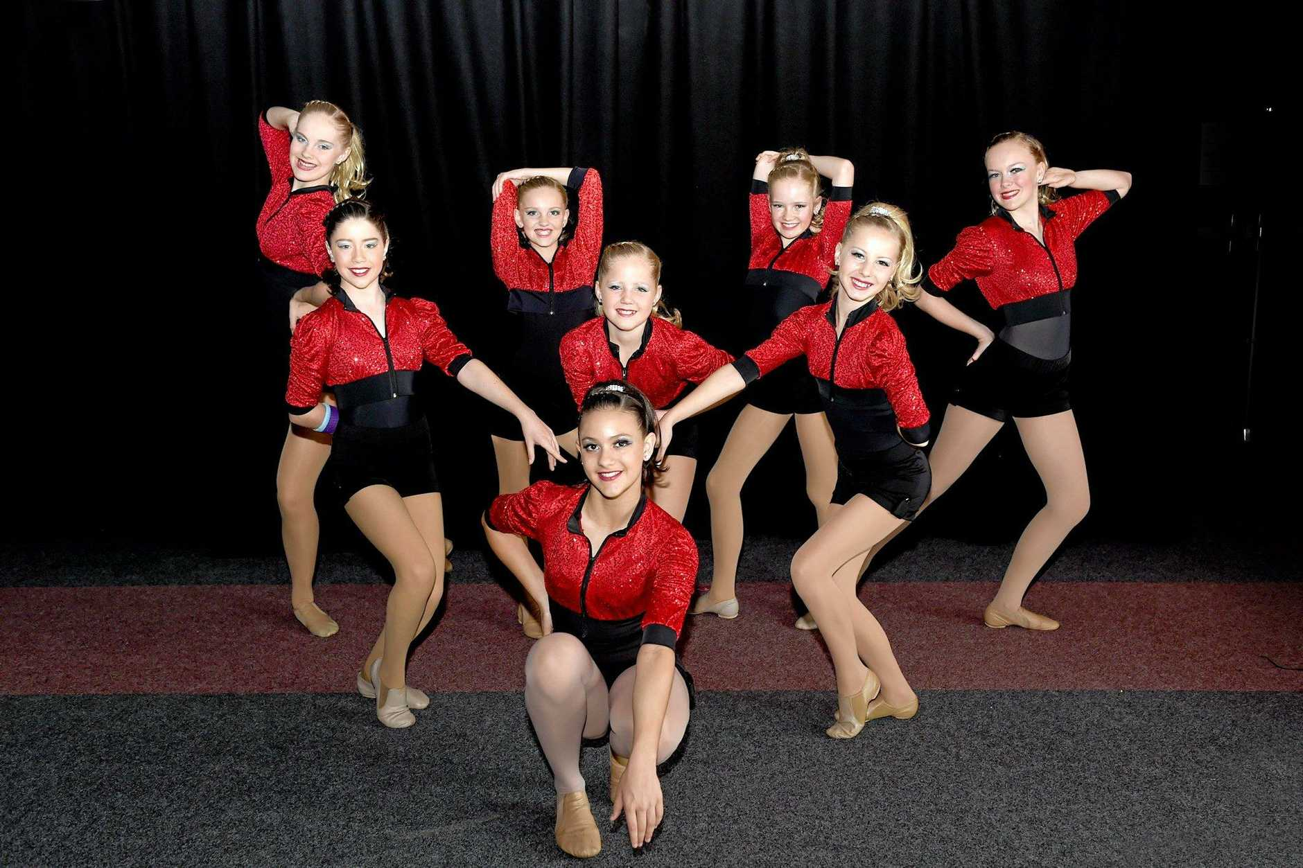TOP PERFORMANCE: Intermediate performers from Coolum Beach School of Dance get ready for the stage at a past Maryborough Eisteddfod.
