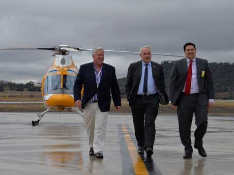 On the tarmac are (from left) Wagner's Global chairman John Wagner, Toowoomba Mayor Paul Antonio and TSBE Dr Ben Lyons to announce the first international passenger flight from the Wellcamp airport.