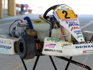 Briscoe's kart on display at race meet