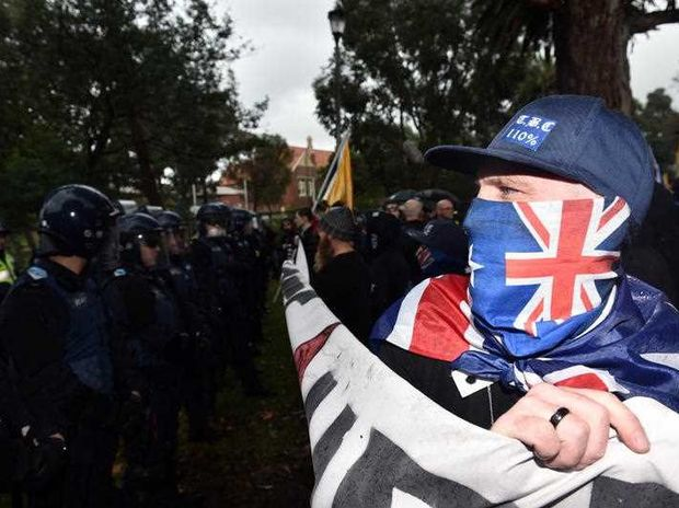 Anti-immigration protesters clash with police in Coburg in Melbourne, Saturday, May 28, 2016.