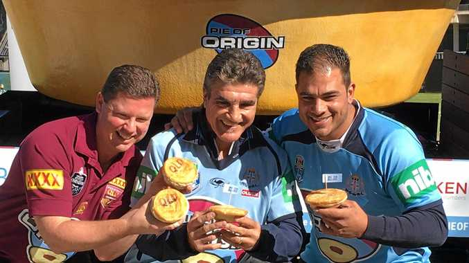 CHARITY BAKE-OFF: Beefy's owner Mark Hobbs, rugby league great Mario Fenech and Glenorie Bakery owner Rob Pirina.