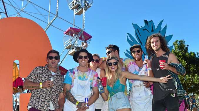 THUMBS UP: The punters were out in force to enjoy the music under clear blue skies at the Big Pineapple Music Festival yesterday.