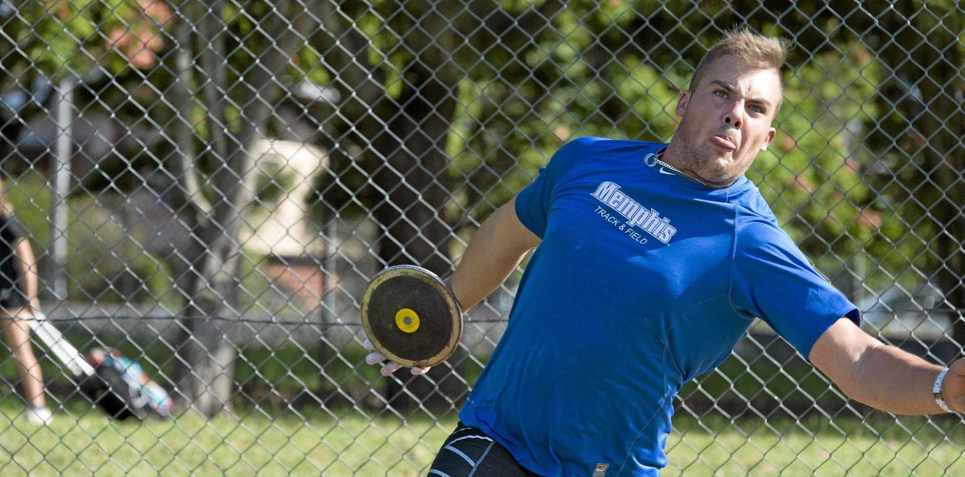 National throw champion Matthew Denny at training as a forerunner to an Olympic qualifying throw at the weekend in America.