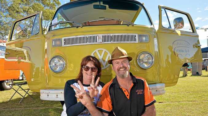 KOMBI-NATION: Couple Joy Kirkham and Geoff Scott relax at the Surf Show and Shine.