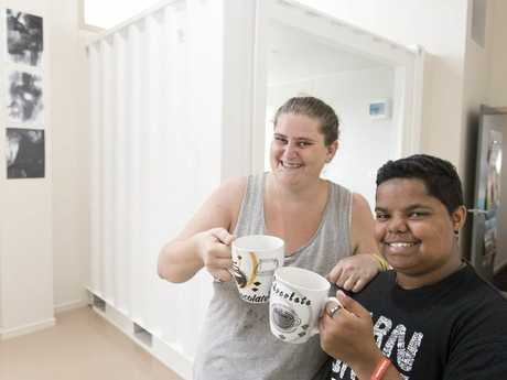 COFFEE TIME: Annastasia Harland and Taz Clay support Headspace Toowoomba's plan to develop an enterprise coffee shop and community garden.