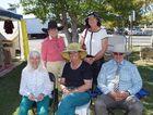 Rae Earl, Loretta Smith, (front) Mary Carmichael, Avriel Tyson and Murray Smith at the Springsure Show. Photo Rebekah Yelland / CQ News