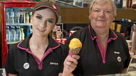 SWEET SUCCESS: Wendys shop assistant Georgia Willis and franchisee Rob Hawkins both agree its hard to feel sad when working in the treat business.