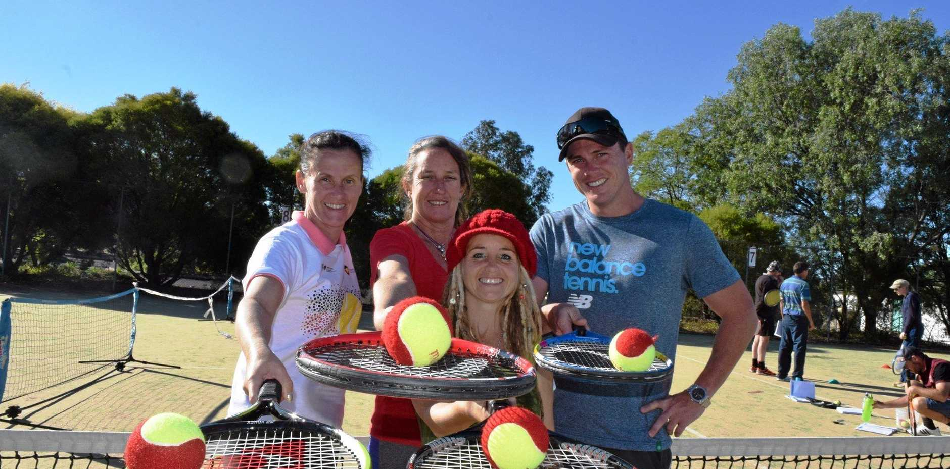 SERVE UP SUCCESS: Jessie Hodgson, Audrey Connell, Kelly Watson and Chris Moody had a ball at the tennis coaching workshop over the weekend.