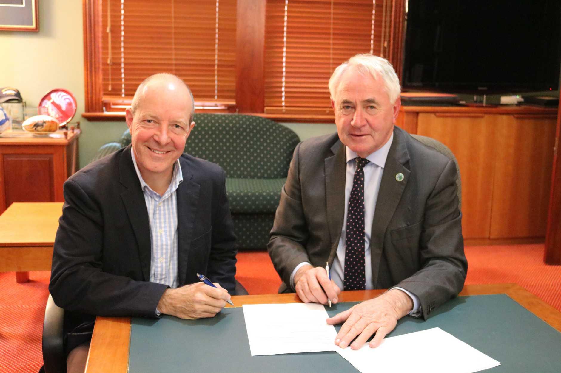 UDIA (Qld) new Toowoomba president Mark Rundle with Toowoomba Mayor Paul Antonio.