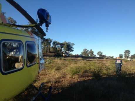 RACQ CareFlight at the scene of the incident.