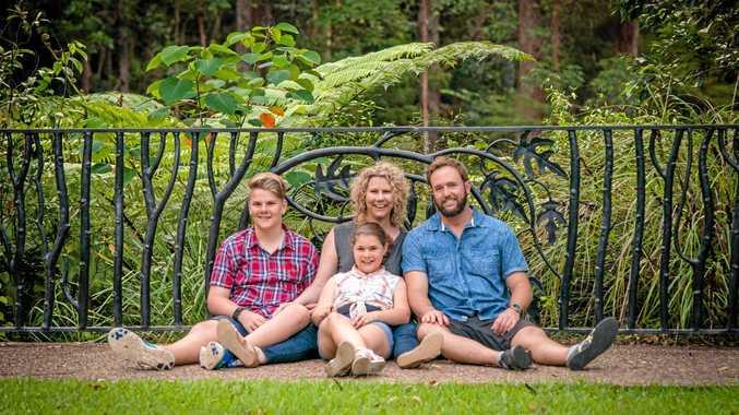 DIGITAL STAR: Lisa Harrison with her children Landan and Ella and partner Stephen.