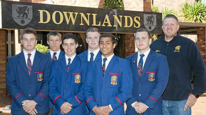 PROMISING PLAYERS: Downlands College students (from left) Kohan Herbert, Brad Twidale, Damian Brennan, James Bradbury, Nick Stein, Ben Klassen and coach Garrick Morgan are achieving great results in rugby union.