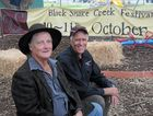 POETS' CORNER: Poet and MC Denleigh Stenzel with Poets in the Park organiser Greg Farr.