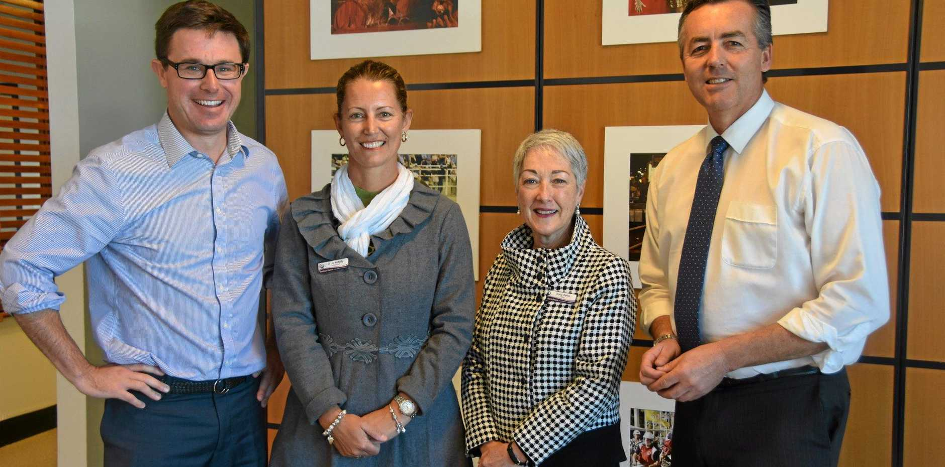 WHERE'S WARWICK: MP Darren Chester met with David Littleproud, Cr Jo Mcnally and Mayor Tracy Dobie.