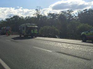 Bruce Highway blocked at Howard after truck rolls