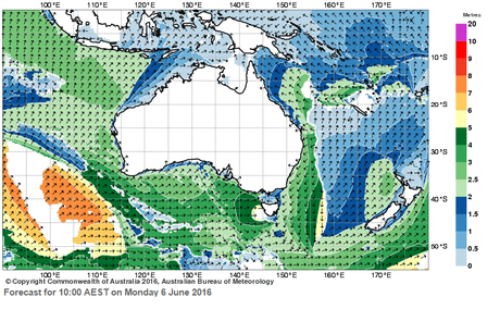 The BOM's primary swell chart shows green areas (waves higher than two metres hitting the Coast on Sunday and Monday.