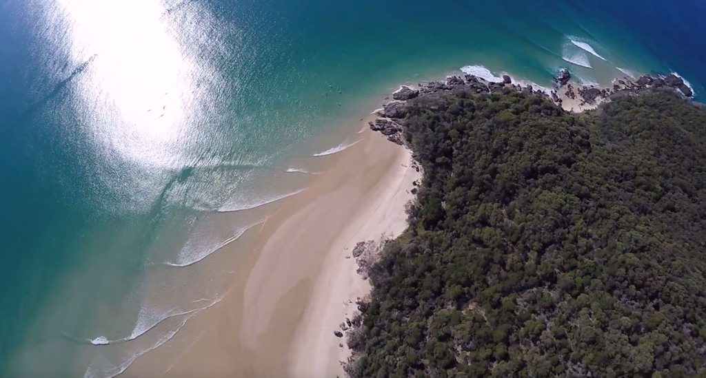Aerial shot of Double Island Point shot by Epic Ocean Adventures