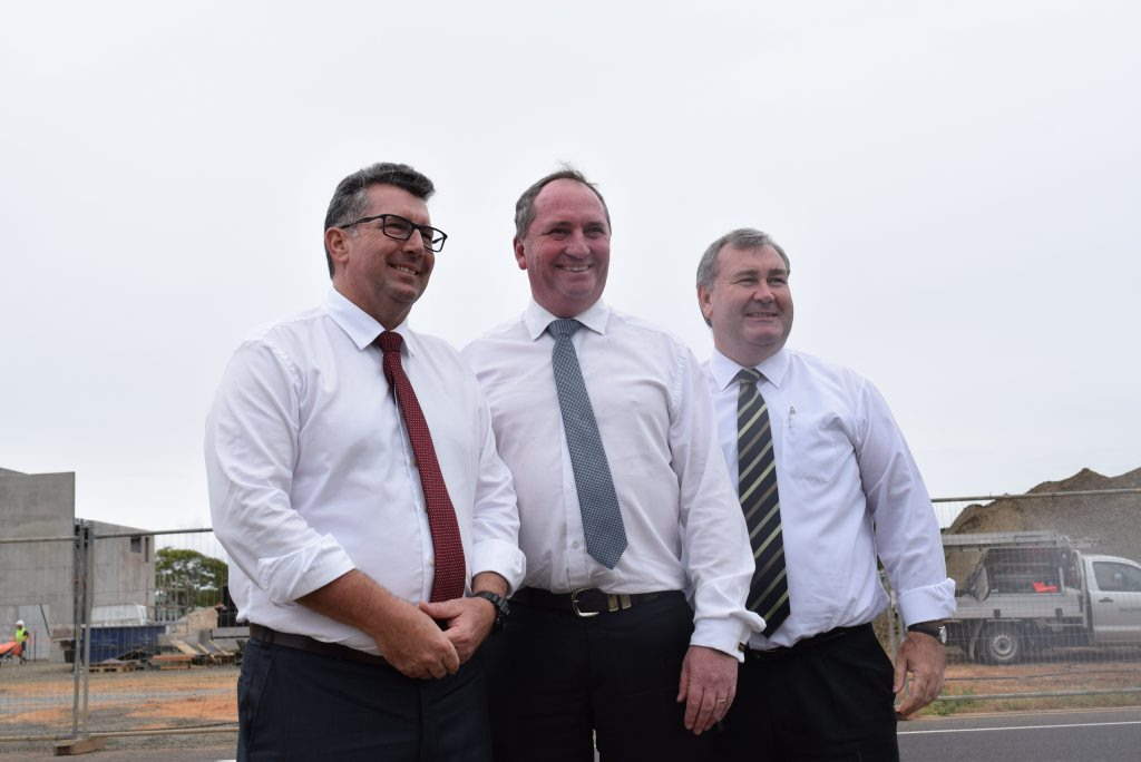 FUNDING BOOST: Keith Pitt, Assistant to the Prime Minister Barnaby Joyce and Bundaberg Mayor Jack Dempsey at the site.
