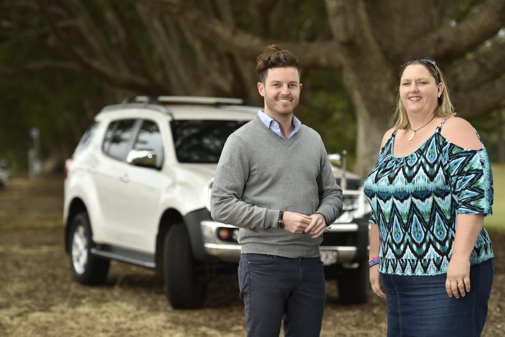 Uber Queensland general manager Sam Bool and Toowoomba driver Jo Kilah launch the ride-sharing service in the Garden City on June 2.