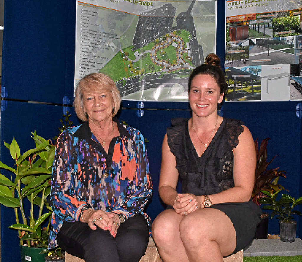 BIG PLANS: Cr Jan Clifford and RPS Whitsundays town planner Jenna Kljaic test out the foreshore revitalisation display at Cannonvale Library. Photo: Rory Sheavils