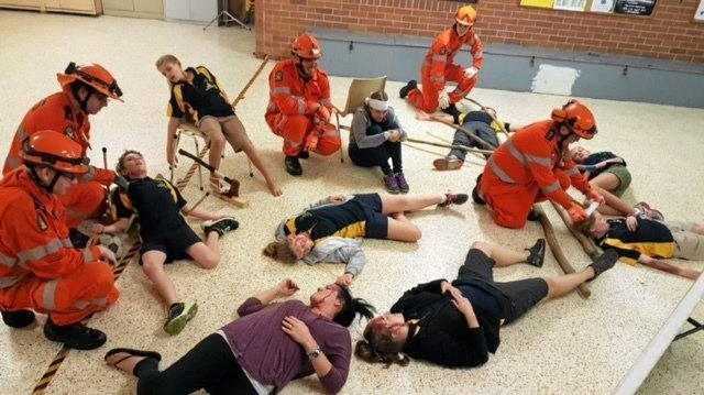 REALISTIC: Kawana Scouts take part in a mock emergency scenario with Kawana SES volunteers.