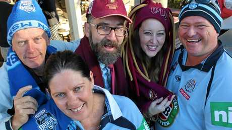 MATE AGAINST MATE: Mike Burns, Pauline Healey, Corey Stitt, Katherine Paton and Chris Poole celebrate all that is State of Origin last year.