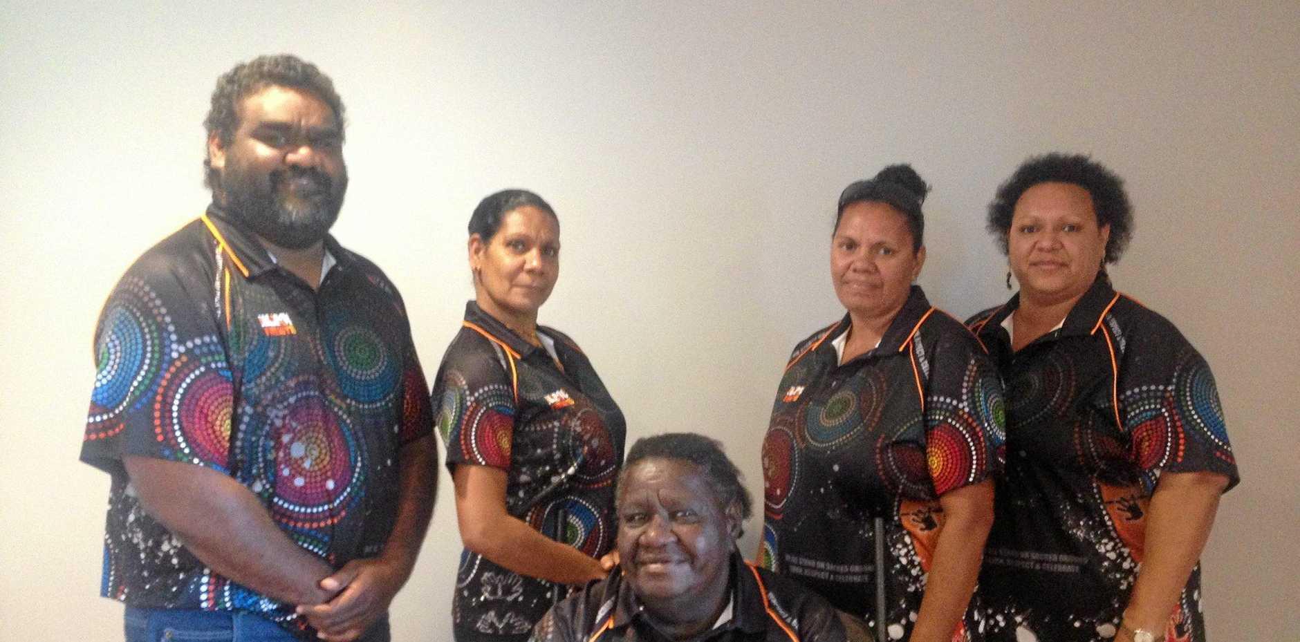 Mayor Rex Burke (left) with the new Napranum Aboriginal Council.